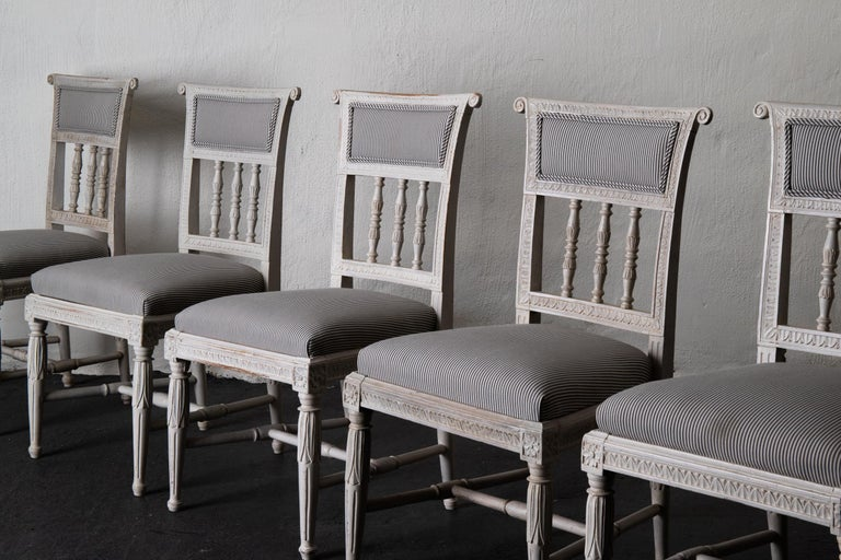 Dining Chair Set of 6 Swedish Gustavian Neoclassical White Blue Sweden For Sale 6