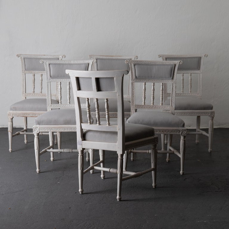 A gorgeous set of 6 dining chairs. Made in Sweden during the Gustavian period. Signed on the left back leg by the chair maker. All carvings and details original. Retouched paint and reupholstered.