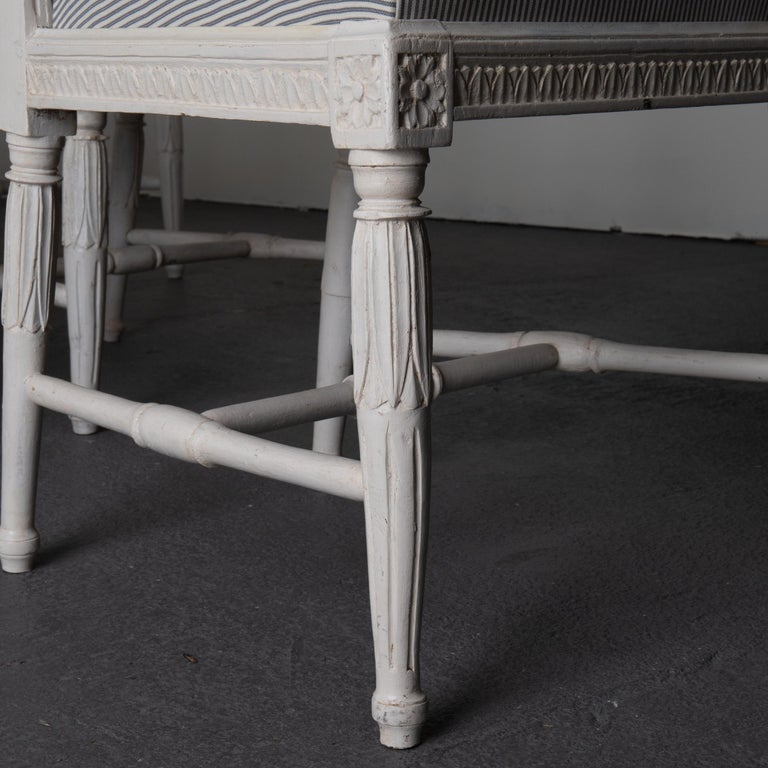 19th Century Dining Chair Set of 6 Swedish Gustavian Neoclassical White Blue Sweden For Sale