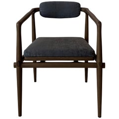 Dining Chair Upholstered Armchair Interlock André Fu Living Brown Oak Blue New
