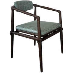 Dining Chair Upholstered Armchair Interlock André Fu Living Brown Oak Green New