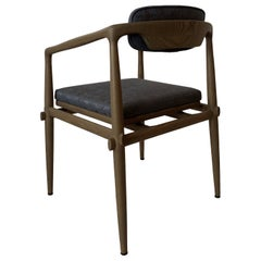 Dining Chair Upholstered Armchair Interlock André Fu Living Grey Oak Blue New