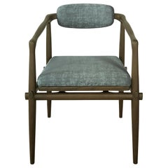 Dining Chair Upholstered Armchair Interlock André Fu Living Grey Oak Green New