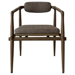 Dining Chair Upholstered Armchair Interlock André Fu Living Grey Oak Grey New