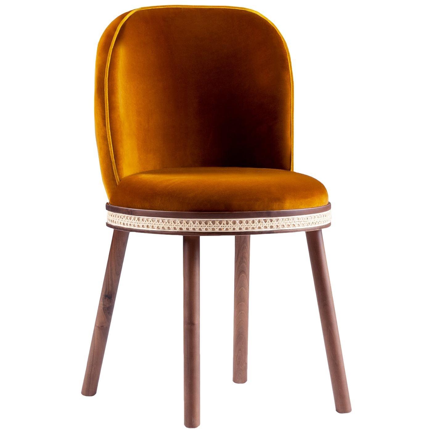 Mid-Century Modern Dinning Chair Alma Deep Orange Cotton Velvet, Walnut, Brass