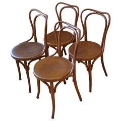 Dining Chairs Bentwood J & J Kohn Bistro Chairs, Austria, Set of 4