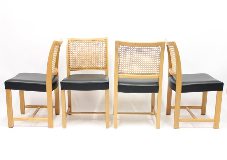 Leather Dining Chairs by Carl Gustaf Hiort Af Ornäs for Mikko Nupponen, 1950s, Set of 4 For Sale
