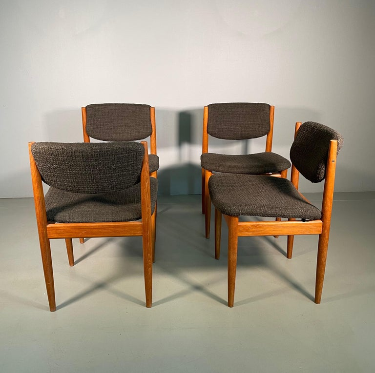 Mid-Century Modern Dining Chairs by Finn Juhl for France & Søn, 1960s, Set of 4 For Sale
