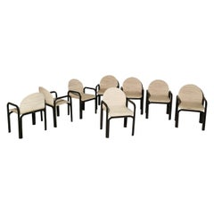 Dining Chairs by Gae Aulenti for Knoll in Enameled Aluminum and Fabric Set of 8