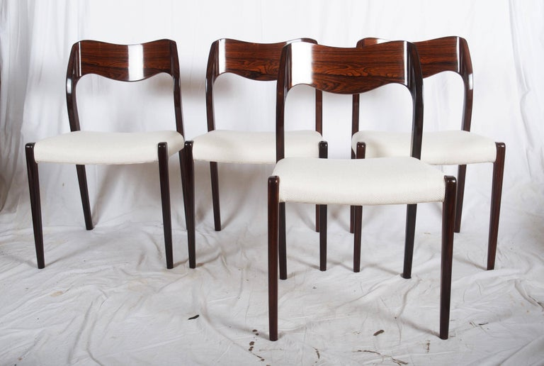 Hardwood Dining Chairs by Niels Otto Møller Model 71 For Sale