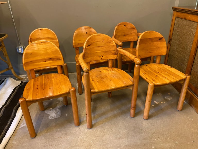 A hard to find set of Mid-Century Modern or Scandinavian Modern dining chairs designed by Rainer Daumiller, Danish architect and designer. Manufactured by Hirtshals Savværk (Hirtshals Sawmill) in Denmark of solid pine. Comfortable. Set includes 4