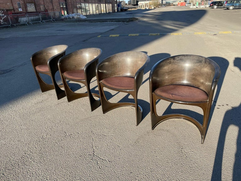 Set of 4. Steen Ostergaard Cado period molded plastic all original stack chairs with original cushion in all original condition, rare and unusual set.