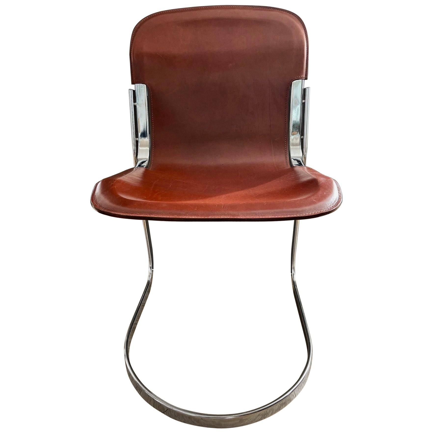 70s' Dining Chairs by Willy Rizzo for Cidue, original cognac saddle leather