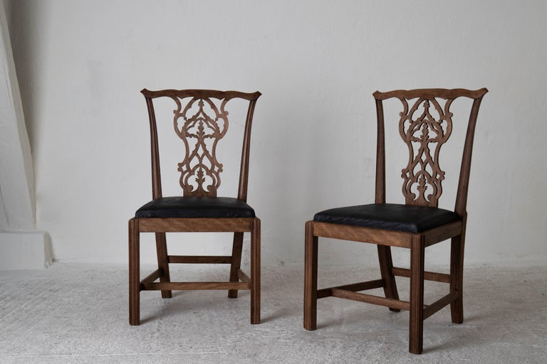 Dining Chairs English Set of 6 Assembled Chippendale England For Sale 2