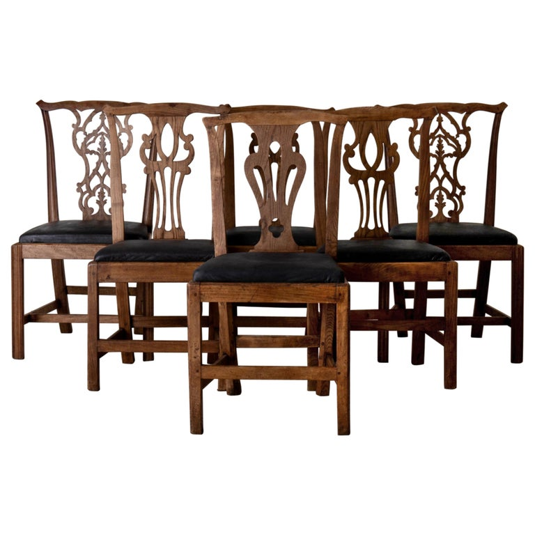 Dining Chairs English Set of 6 Assembled Chippendale England For Sale