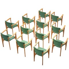 Dining Chairs in Beech and Green Upholstery