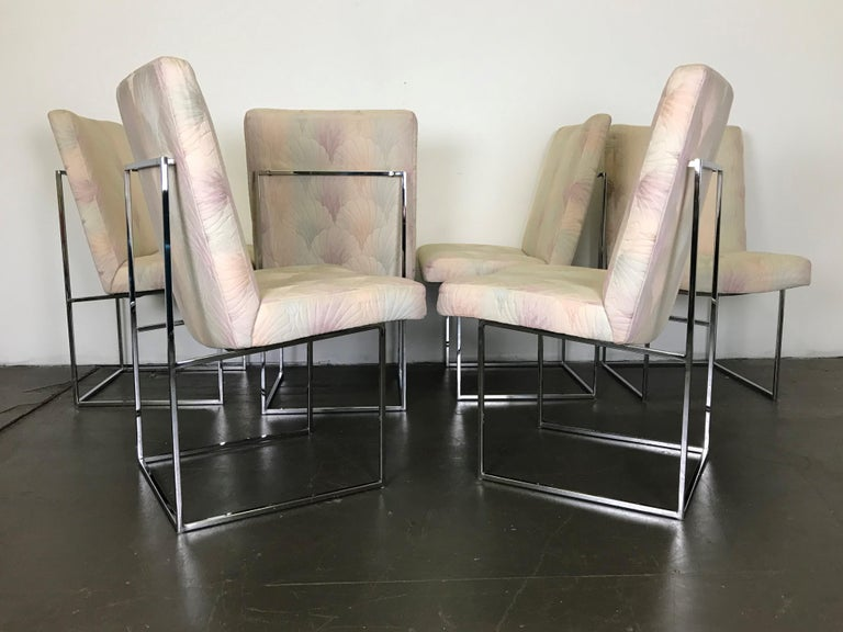 Six Mid Century Modern Milo Baughman Dining Chairs for Thayer Coggin in Chrome   4