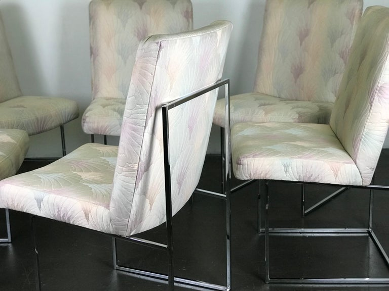Six Mid Century Modern Milo Baughman Dining Chairs for Thayer Coggin in Chrome   5