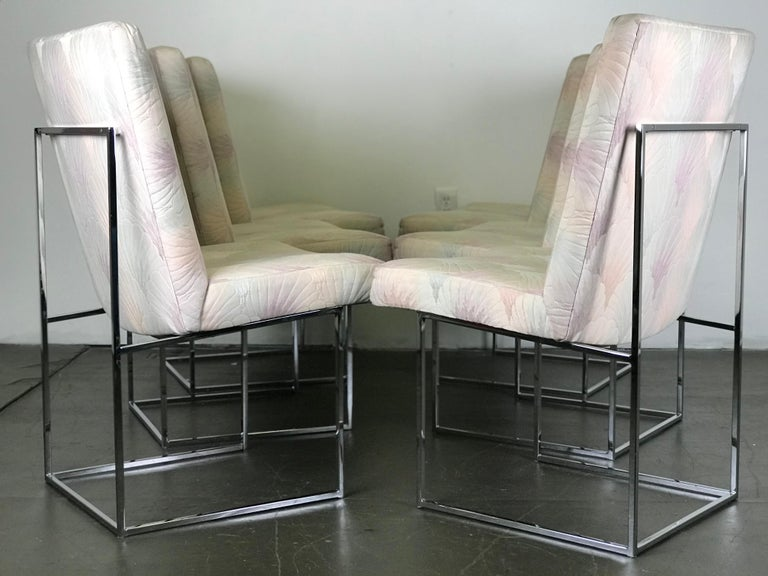 Six Mid Century Modern Milo Baughman Dining Chairs for Thayer Coggin in Chrome   6