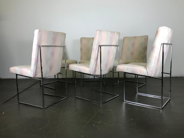 Classic set of six sleek chrome and fabric dining chairs by Milo Baughman for Thayer Coggin. The chrome bases are in excellent condition - polished and hardly any wear at all. The seats need to be reupholstered (unless you're going for The Golden