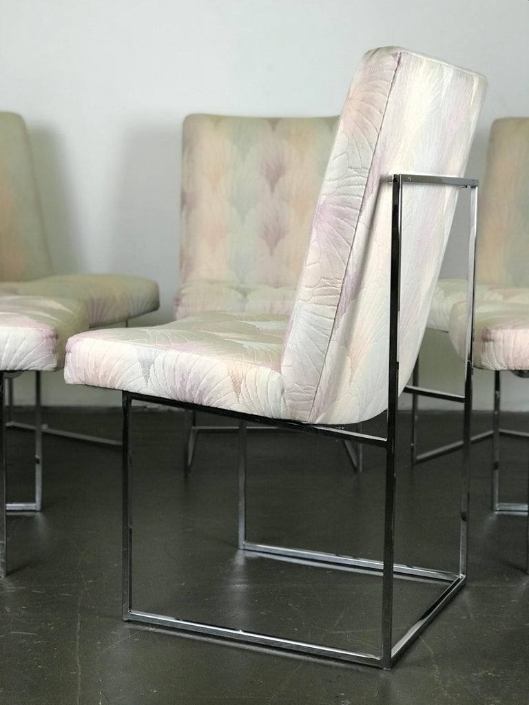 American Six Mid Century Modern Milo Baughman Dining Chairs for Thayer Coggin in Chrome