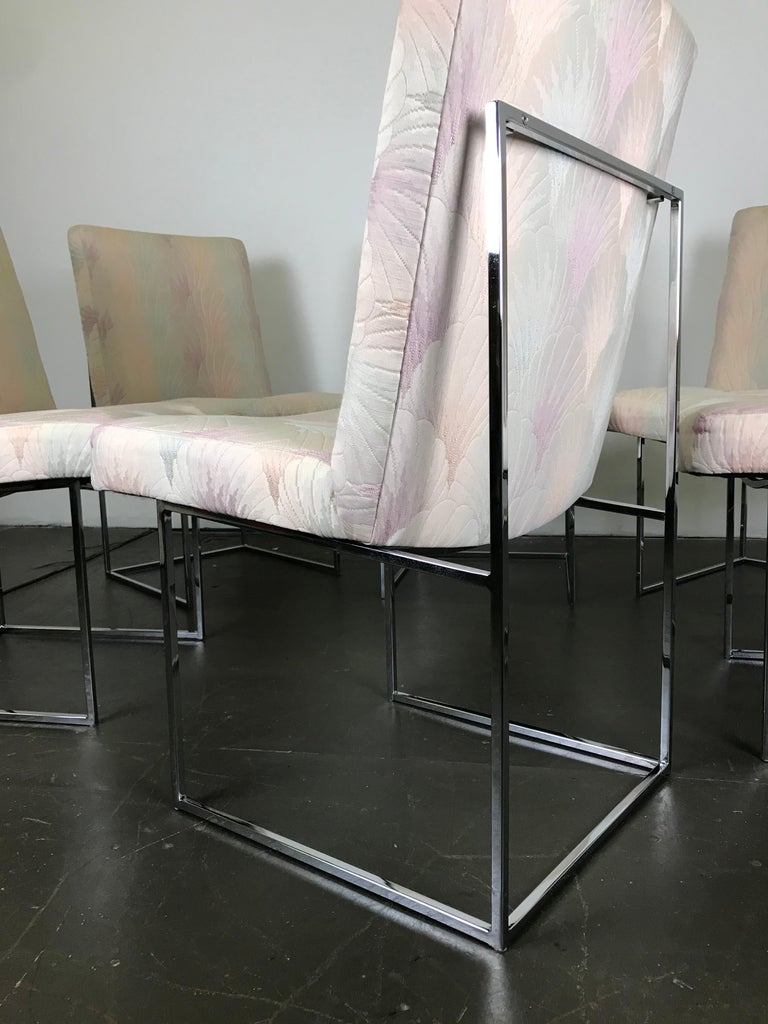 Six Mid Century Modern Milo Baughman Dining Chairs for Thayer Coggin in Chrome   In Good Condition In Framingham, MA
