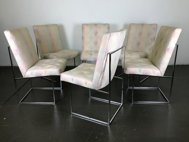 Late 20th Century Six Mid Century Modern Milo Baughman Dining Chairs for Thayer Coggin in Chrome