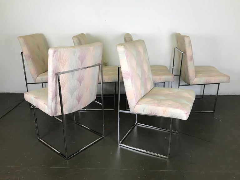 Metal Six Mid Century Modern Milo Baughman Dining Chairs for Thayer Coggin in Chrome