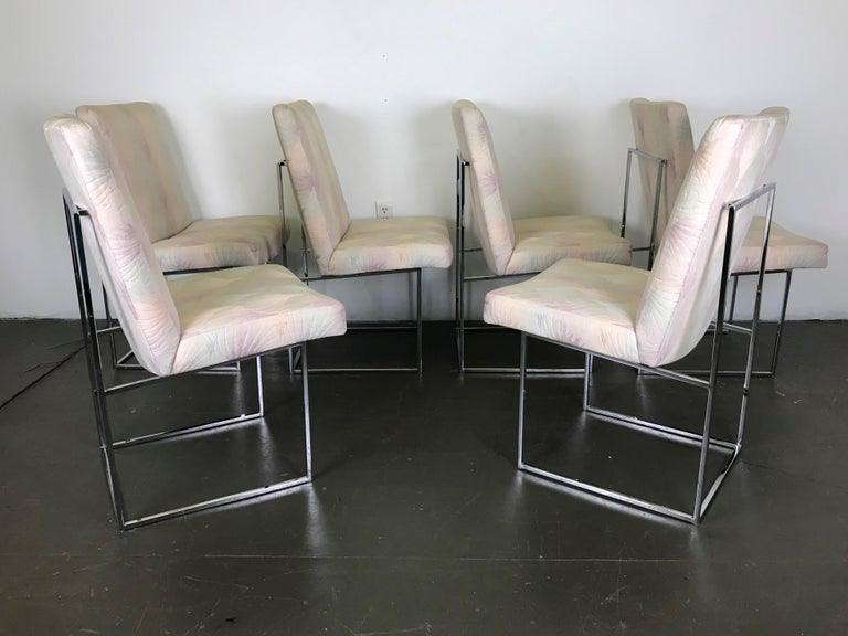 Six Mid Century Modern Milo Baughman Dining Chairs for Thayer Coggin in Chrome   1