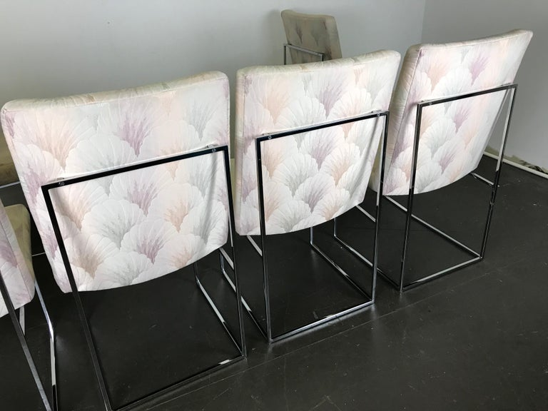 Six Mid Century Modern Milo Baughman Dining Chairs for Thayer Coggin in Chrome   2