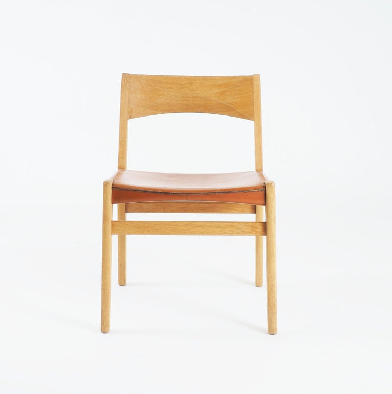 Swedish Dining Chairs in Oak and Leather by John Vedel-Rieper, Denmark for Källemo For Sale
