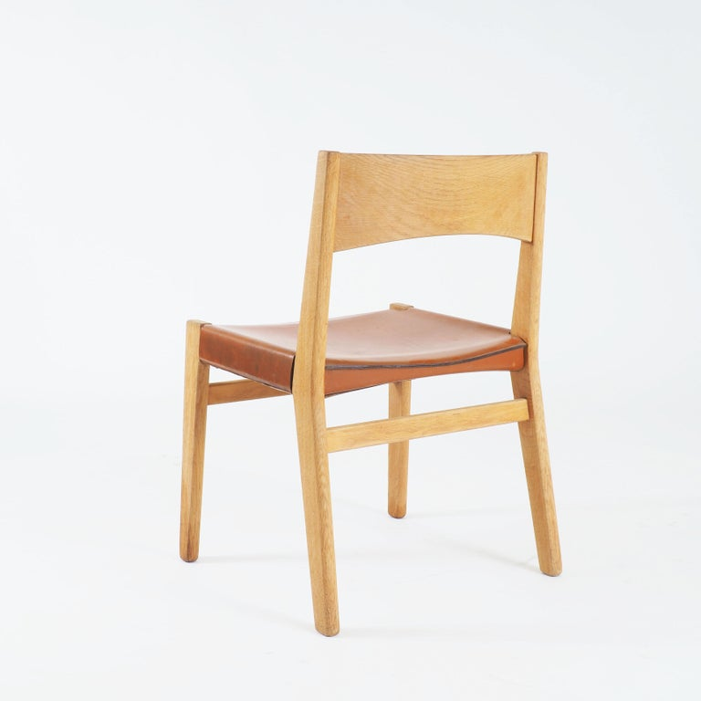 Dining Chairs in Oak and Leather by John Vedel-Rieper, Denmark for Källemo In Good Condition For Sale In Goteborg, SE