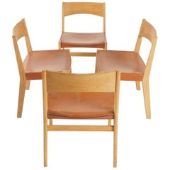 Dining Chairs in Oak and Leather by John Vedel-Rieper, Denmark for Källemo