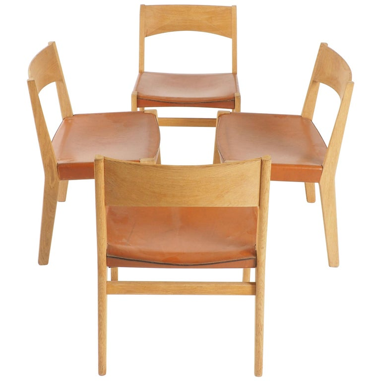 Dining Chairs in Oak and Leather by John Vedel-Rieper, Denmark for Källemo For Sale
