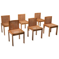 Dining Chairs in Oak and Cane, Italy 1970s, Set of Six