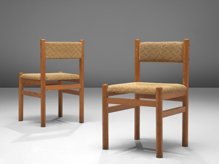 Dining Chairs in Pine and Beige Upholstery For Sale 4