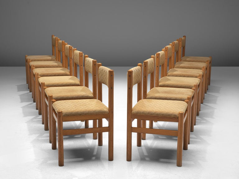 Mid-Century Modern Dining Chairs in Pine and Beige Upholstery For Sale