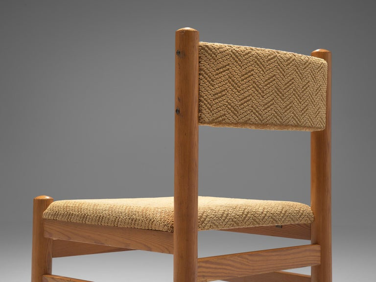 European Dining Chairs in Pine and Beige Upholstery For Sale