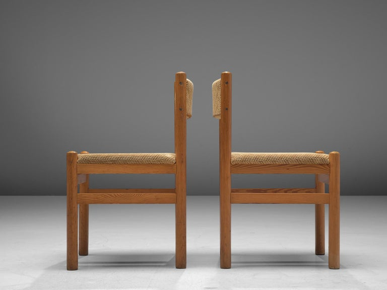 Mid-20th Century Dining Chairs in Pine and Beige Upholstery For Sale