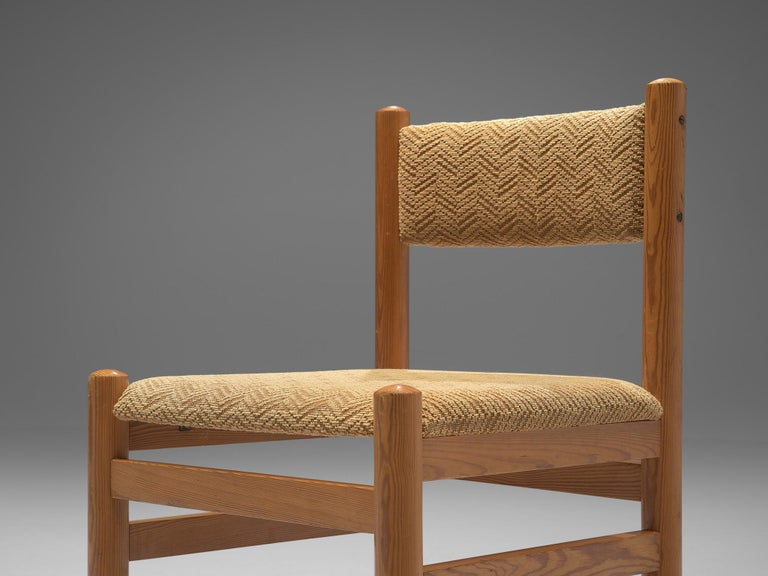 Dining Chairs in Pine and Beige Upholstery For Sale 1