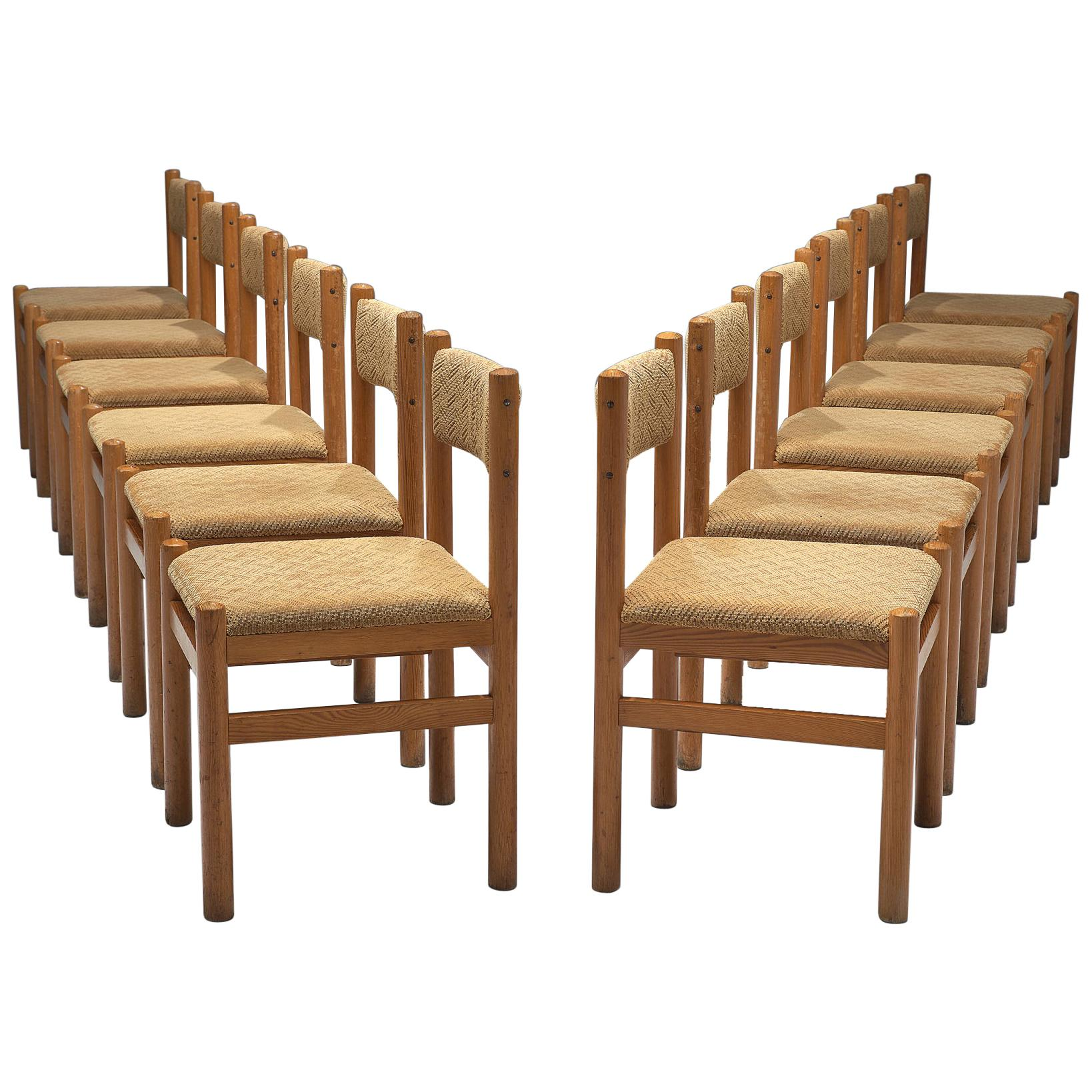 Dining Chairs in Pine and Beige Upholstery
