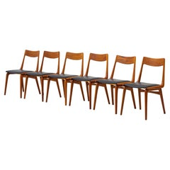Dining Chairs in Teak and Leather by Alfred Christensen, Slagelse, Denmark