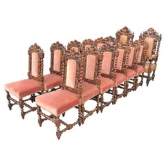 Dining Chairs, Large Set of 14, Antique Oak Dining Chairs, English. circa 1880