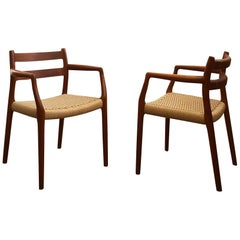 Dining Chairs, Model 67 by Niels O. Møller in Teak and Paper Cord, Set of 2