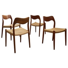 Dining Chairs, Model 71 by Niels O. Møller in Teak and Paper Cord, Set of 4