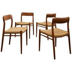 Dining Chairs, Model 75 by Niels O. Møller in Teak and Paper Cord, Set of 4