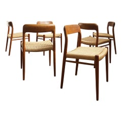 Dining Chairs, Model 75 by Niels O. Møller in Teak and Paper Cord, Set of 6