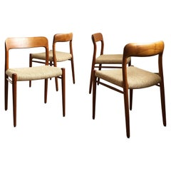 Dining Chairs, Model 75 by Niels O. Møller in Teak and Wool Seats, Set of 4