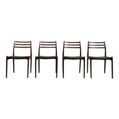 Dining Chairs, Model 78 by Niels O. Møller in Teak and Leather, Set of 4