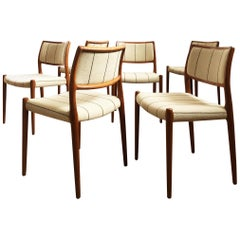 Dining Chairs, Model 80 by Niels O. Møller in Teak and Beige Fabric, Set of 6